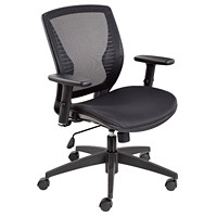 Offices To Go Stradic Mid-Back Tilter Chair, Ebony Black Quilt Fabric Seat and Mesh Back