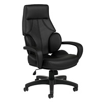 Offices To Go Kazan High-Back Tilter Executive Chair, Black, Luxhide Bonded Leather