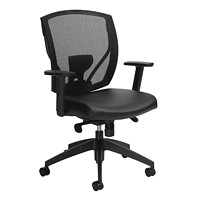 Offices To Go Ibex Mid-Back Synchro-Tilter Ergonomic Chair, Black Luxhide Bonded Leather Seat and Mesh Back