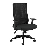 Offices To Go Valan High-Back Synchro-Tilter Ergonomic Chair, Black, Luxhide Bonded Leather