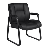 Offices To Go Ashmont Mid-Back Guest Chair, Black, Luxhide Bonded Leather