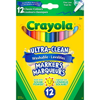 Crayola Ultra-Clean Washable Markers, Assorted Classic Colours, Fine Tip, 12/PK
