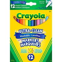 Marqueurs lavables Ultra-Clean Crayola, couleurs classiques variées, pointe fine, emb. de 12