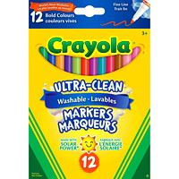 Crayola Ultra-Clean Washable Markers, Assorted Bold Colours, Fine Tip, 12/PK