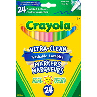 Crayola Ultra-Clean Washable Markers, Assorted Colours, Fine Tip, 24/PK