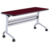 Safco Flip-N-Go Rectangular Training Table, Mahogany/Silver, 24