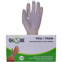Globe Commercial Products Vinyl Gloves, 4 mil, Small, Clear, 100/BX