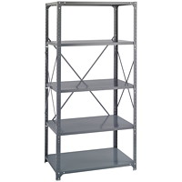 Safco Heavy-Duty Commercial Steel Shelving, 5 Shelves, Grey, 36