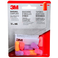 3M Disposable Foam Uncorded Earplugs, Assorted Bright Colours, 4 Pairs/PK