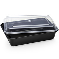 Café Express Rectangular Take Out Containers, Black with Clear Lids, 1,000 mL Capacity, 150/CT
