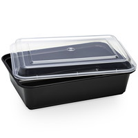 Café Express Rectangular Take Out Containers, Black with Clear Lids, 1,250 mL Capacity, 150/CT