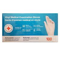 Gants d'examen médical en vinyle jetables de la Croix-Rouge canadienne, moyen, 5mils, boîte de 100