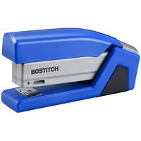 Bostitch InJoy Spring-Powered Compact Half-Strip Stapler, Blue/Grey, 15-Sheet Capacity