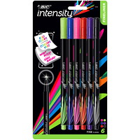 BIC Intensity Fineliner Porous Tip Pens, Assorted Colours, Fine 0.4 mm, 6/PK