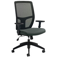 Offices To Go Format High-Back Simple Synchro-Tilt Chair, Ironwork Grey Terrace Fabric Seat/Black Mesh Back