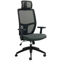 Offices To Go Format High-Back Simple Synchro-Tilt Chair, With Headrest, Ironwork Grey Terrace Fabric Seat/Black Mesh Back