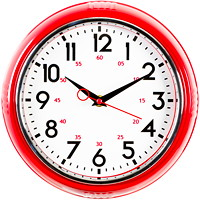 RETRO 9.5IN WALL CLOCK-RED