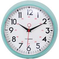 RETRO 9.5IN WALL CLOCK-GREEN