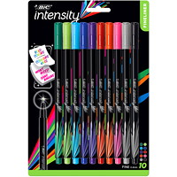 BIC Intensity Fineliner Porous Tip Pens, Assorted Colours, Fine 0.4 mm, 10/PK