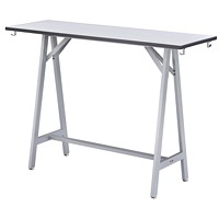Safco Spark Standing Height Teaming Table, White Top/Silver Base