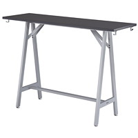 Safco Spark Standing Height Teaming Table, Asian Night Top/Silver Base