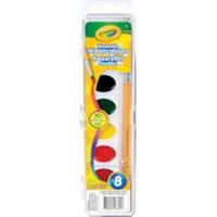 Peintures aquarelles lavables Crayola, 8 couleurs et pinceau