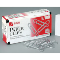 Acco Paper Clips, #4 Jumbo, Heavy-Gauge Elliptical Wire, Smooth Finish, Silver, 100/BX