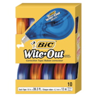 BIC Wite-Out Brand EZ Correct Correction Tape, White, 10/PK
