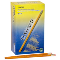Dixon Classmate 273 Black Lead School Pencils, #2 HB, With Eraser, Yellow, 144/BX