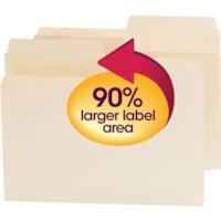 Chemises SuperTab Smead, manille, onglets surdimensionnés 1/2, format lettre, boîte de 100