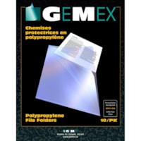 Gemex Polypropylene Project Folders, Clear, Letter Size, 10/PK