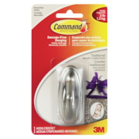 Command Traditional Metallic-Coated Hook, Silver, 3 lb Capacity