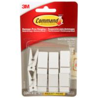 Pinces à ressort pour usage intérieur Command, petite taille, quartz blanc, capacité de 7 1/2 lb, 8 pinces et 12 bandes