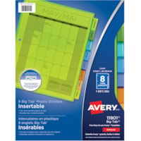 Avery Big Tab Plastic Insertable Dividers, Multi-Coloured, Letter-Size, 8-Tabs/ST, 1-Set/PK