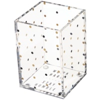 Deflecto Desklarity Pencil Cup, Polka Dot