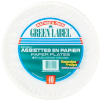 Green Label Recyclable Paper Plates, White, 9
