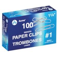 Trombones nº 1 Acme, 1 1/4 po, fini lisse, argent, emb. de 100