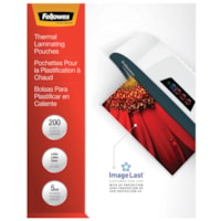 Fellowes Letter-Size Thermal Laminating Pouches, 5 mil, Pack of 200