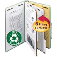 Smead Pressboard 2-Divider Classification Folders, Grey/Green, Legal-Size, 10/BX
