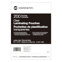 Grand & Toy Thermal Laminating Pouches, Clear, 3 mil, Letter Size, 200/PK
