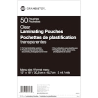 Grand & Toy Menu Size Thermal Laminating Pouches, 3 mil, Pack of 50