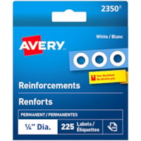 Avery Self-Adhesive Reinforcement Labels, White, 1/4