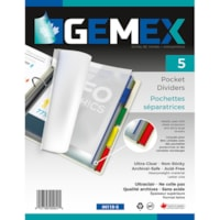 Gemex Pocket Divider Tabs, Ultra Clear/Coloured Tabs, Letter Size, 5/PK