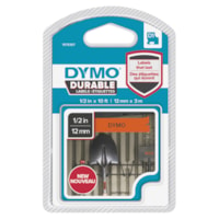 DYMO D1 Durable Label Cassette, Black Ink/Orange Tape, 12 mm x 3 m