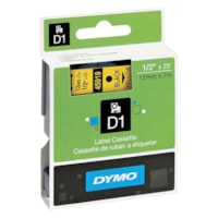 DYMO D1 Label Cassette, Black Type/Yellow Tape, 12 mm x 7 m