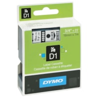 DYMO D1 Label Cassette, Black Type/White Tape, 19 mm x 7 m