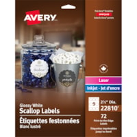 Avery 22810 Print-to-the-Edge Permanent Scallop Labels, Glossy White, 2 1/2
