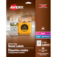 Avery 22815 Print-to-the-Edge Permanent Round Labels, Glossy Clear, 2