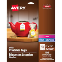 Avery 22848 Print-to-the-Edge Micro-Perforated Tags with Strings, White, 2
