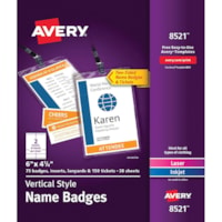 Avery Vertical Style Name Badges with Holders, White/Clear, 6